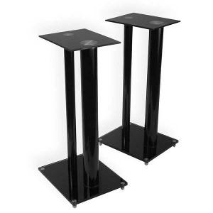 Minify 1 Paar Boxenständer V2 Black-Line aus Glas Alu mit Spikes, 2 Säulen, Kabelkanal