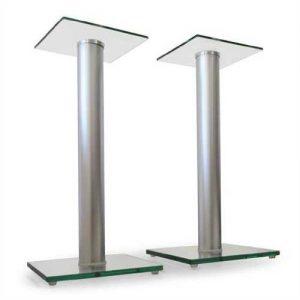 Paar BS58 Design Boxen Lautsprecher Ständer Stativ Glas Aluminium