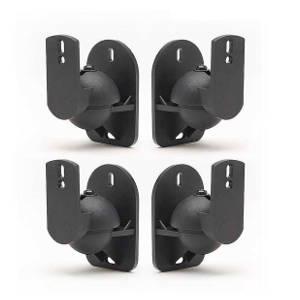 TechSol 4 Pack Schwarze Universal-Wandhalterungen für Lautsprecher