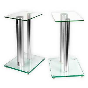 1 Paar Boxenständer V2 ALU-Silber aus Glas Alu mit Spikes