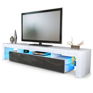 TV Board Lowboard Lima V2 in Weiß : Schwarz metallic Hochglanz